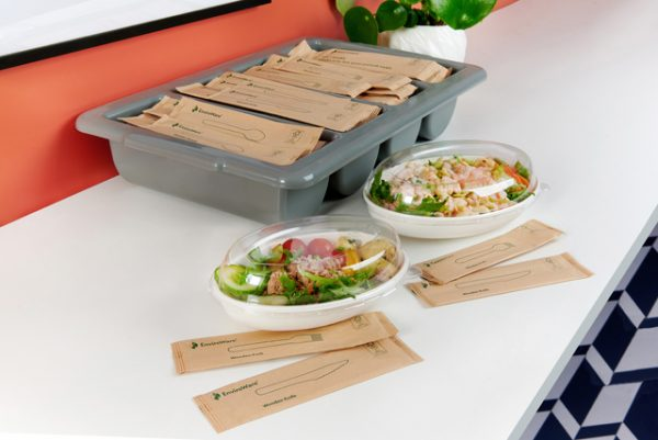 Enviroware wrapped wooden cutlery in canteen tray