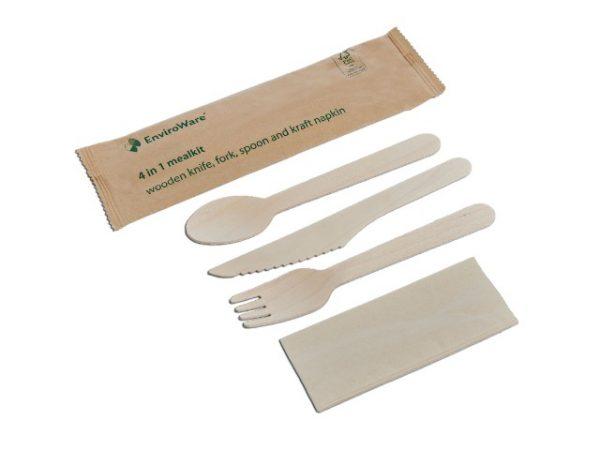 Disposable wooden cutlery mealkit in hygienic wrapper