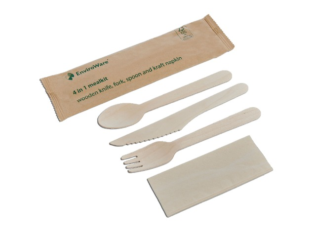 Wrapped wooden cutlery meal kit