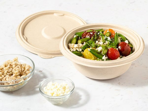Compostable leakproof bagasse round bowl with lid packaging roast vegetable salad
