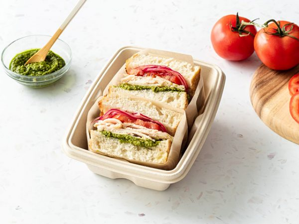 750mm Leakproof bagasse container rectangular packaging a takeaway lunch
