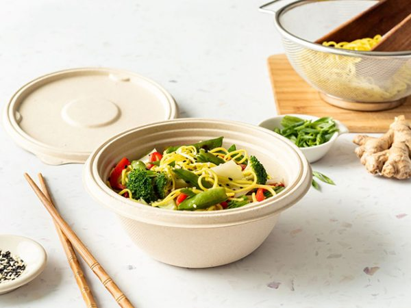 750mm Leakproof round bagasse bowl and lid packaging chinese noodles and stir fry vegetables