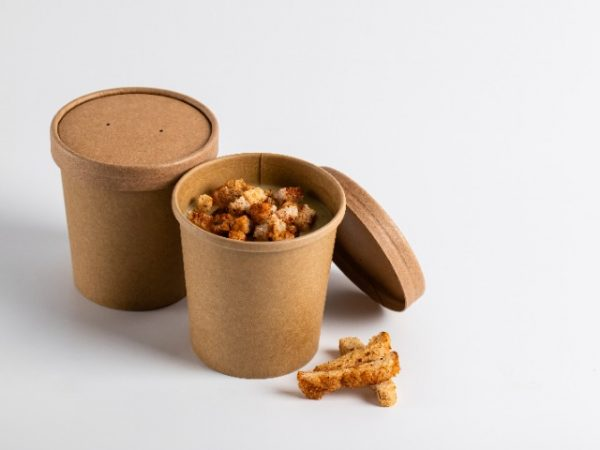 12oz Kraft Compostable Soup Container made from natural brown paper with matching lid
