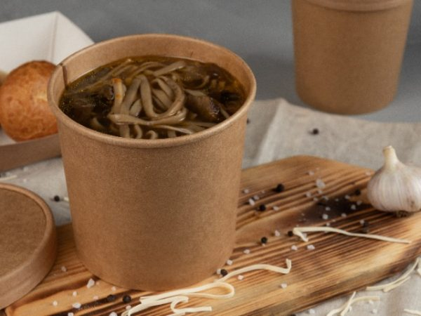 16oz Kraft Soup Container with matching brown paper lid