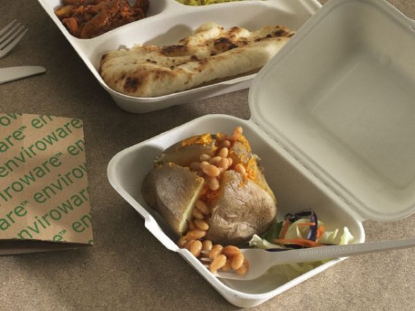 Bagasse Compostable Takeaway Box For Jacket Potatoes