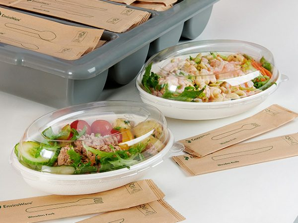 Oval Bagasse Bowl Compostable with clear lid