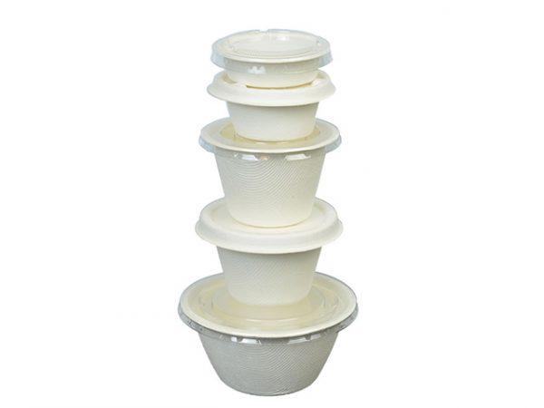 Stackable bagasse portion pots with lids