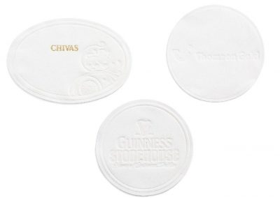 Debossed tissue coasters. Logo embedded into coaster. Chivas, Thomson Gold, Guinness Coasters