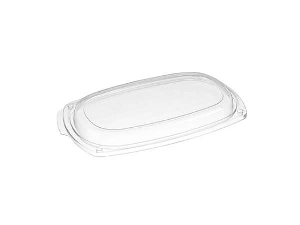 Clear lid for Small black plastic disposable platter tray