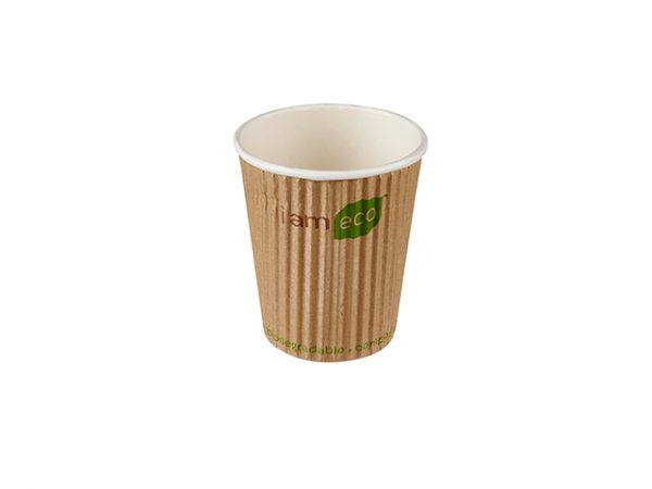 Small 8 oz compostable ripple brown paper hot drink cup