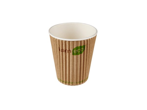 Regular 12 oz compostable ripple brown paper hot drink cup