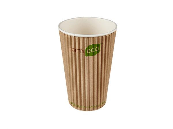 Large 16 oz compostable ripple brown paper hot drink cup