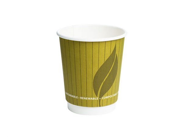8 oz Double Wall Paper Cup with EnviroWare Green Leaf 2 Design