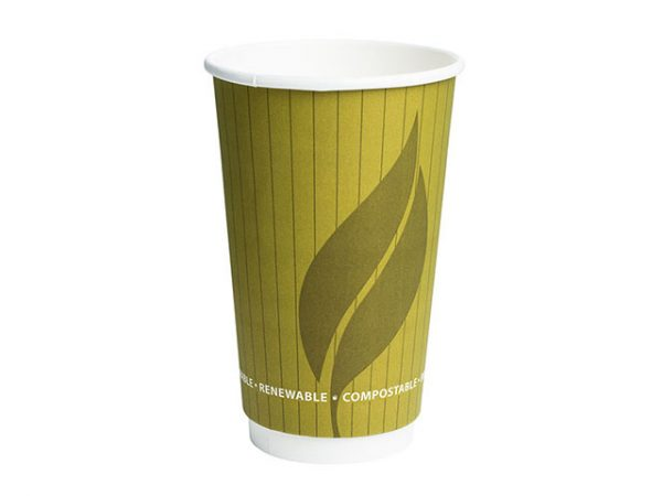 16 oz Double Wall Paper Hot Drink Cup EnviroWare Green Leaf 2 Design