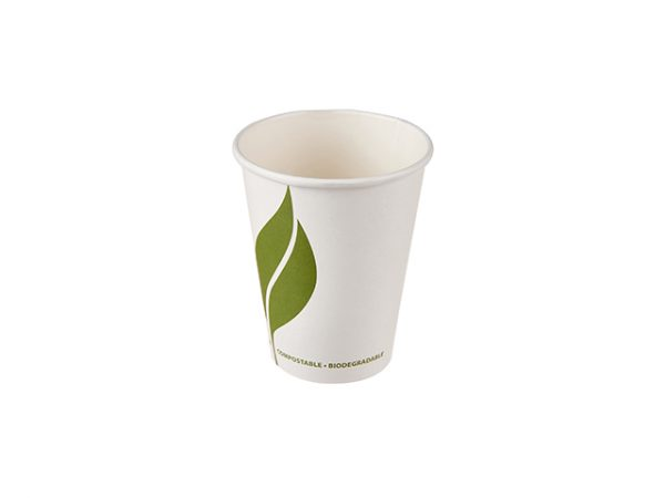 Small 8 oz compostable white paper hot drink cup