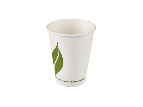 Regular 12 oz compostable white paper hot drink cup