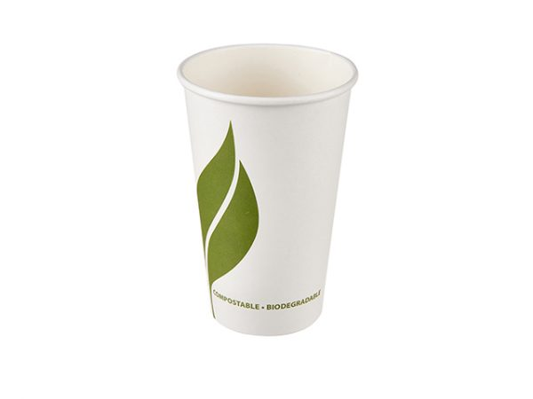 Large 16 oz compostable white paper hot drink cup