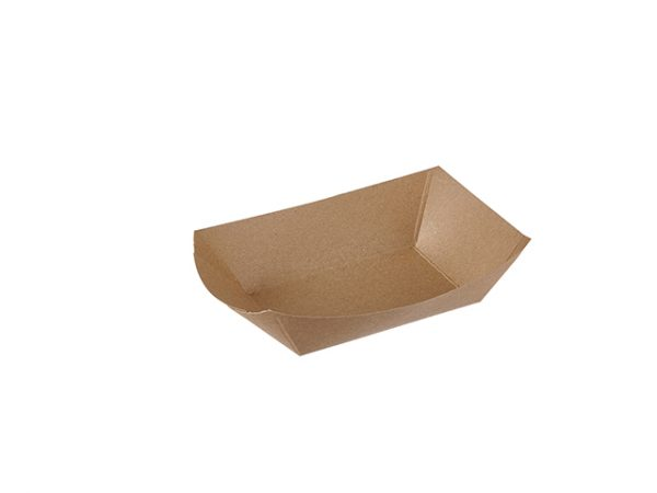Large plain brown paper food tray 2 lb