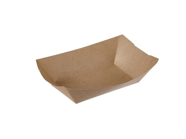 Large plain brown paper food tray 3 lb