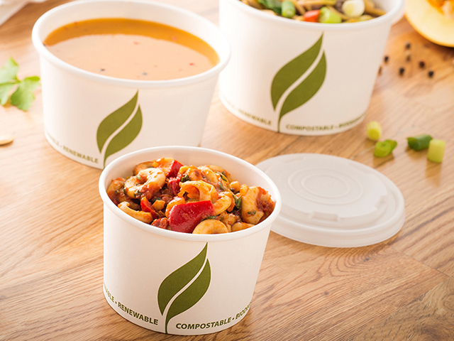 Compostable round paper food containers for soup