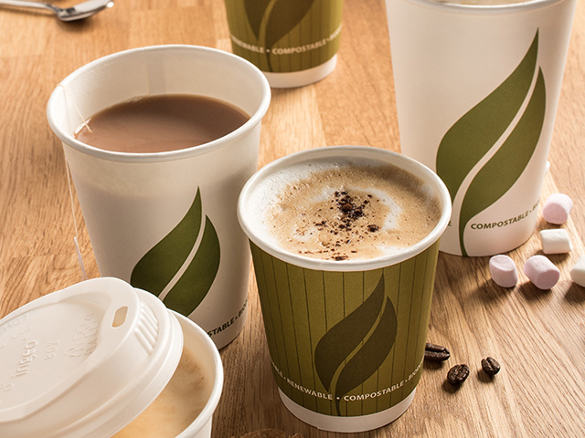 Compostable paper hot drink cups and lids