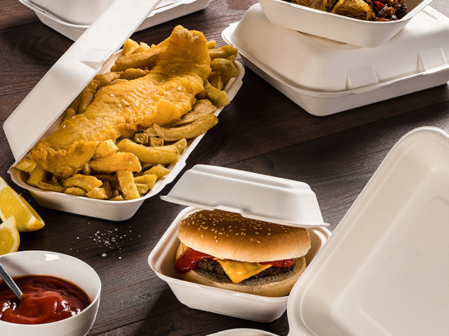 Compostable bagasse hinged clamshell takeaway food box