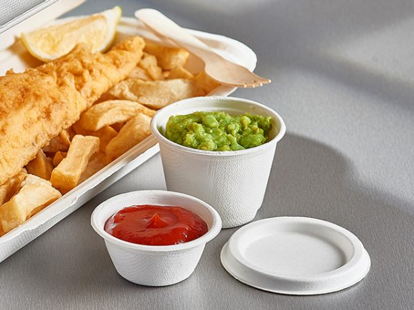 Bagasse compostable small portion pot and lid