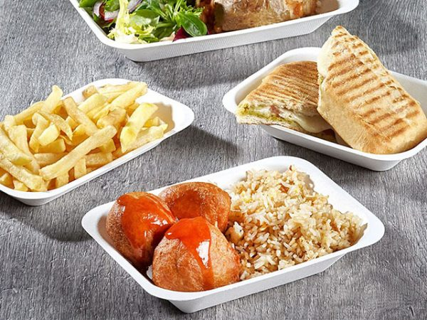 Bagasse compostable food tray white for takeaways