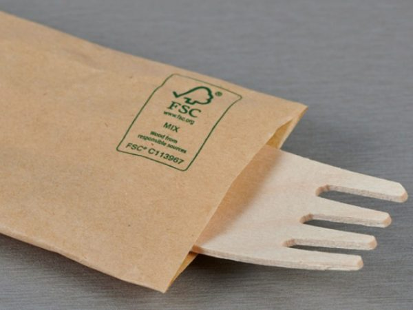 Close up of wrapped wooden fork