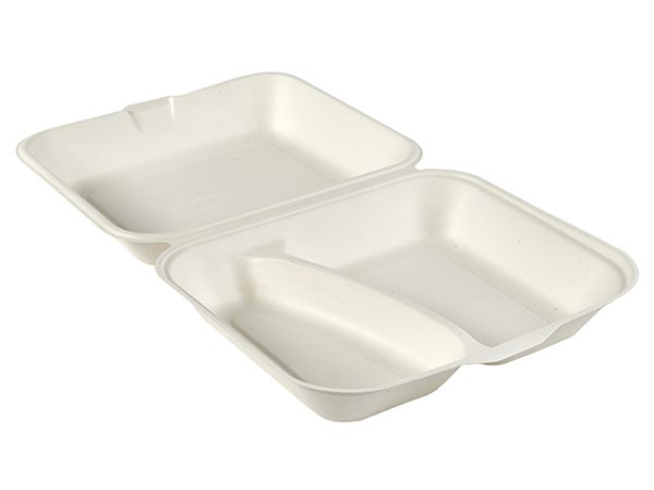 10 x 8″ Bagasse 2-Comp Clamshell