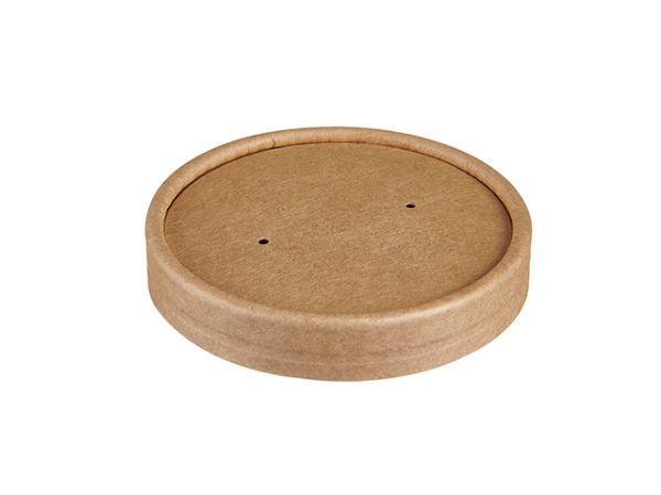 Kraft lid with steam vent holes
