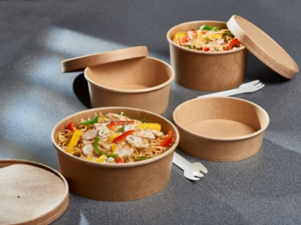 kraft paper food containers with kraft brown paper vented lids.