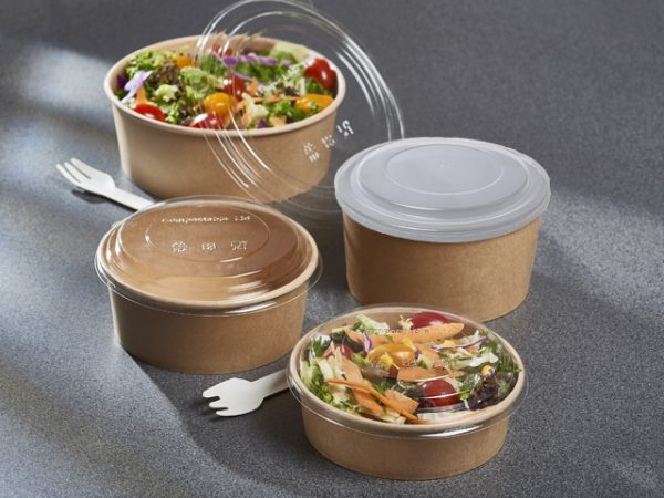 Plastic lid for Kraft paper salad containers