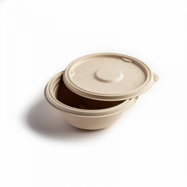 Lid for Bagasse round bowl 500ml natural brown takeaway food bowl with lid