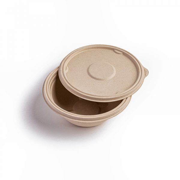 Lid for round bagasse food bowl