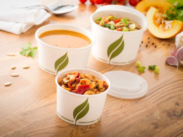 Leaf 2 Compostable and biodegradable white paper soup containers