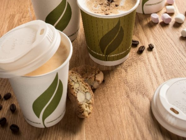 White Compostable and Biodegradable Paper Hot Drink Cups