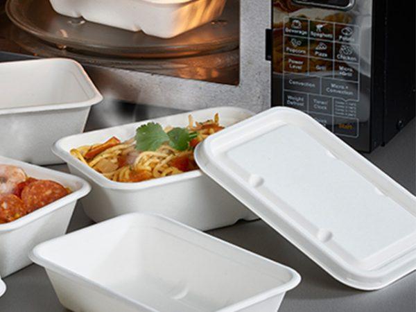 Leakpoof bagasse rectangular tray 750ml