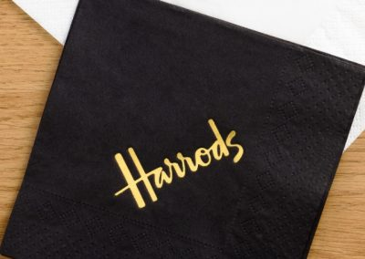 Black tissue 25cm napkin with gold foil print
