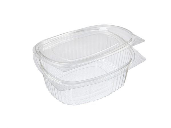 Recycled Plastic Clear Hinged Clamshell Salad Container Large 1000 ml