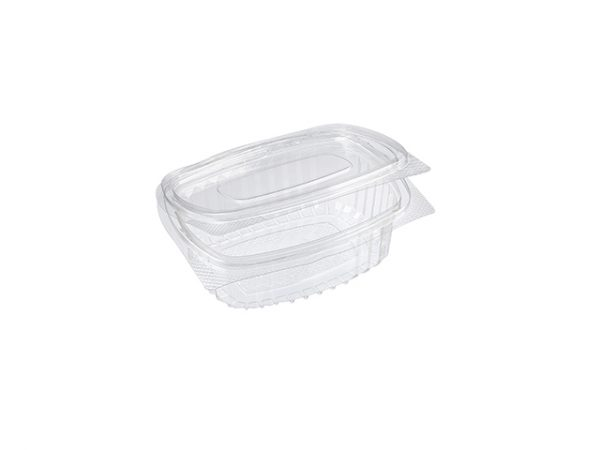 Small 250 ml clear clamshell recycled plastic food container