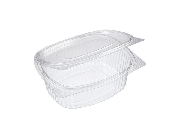 Recycled Plastic Hinged Clamshell Clear Takeaway Salad Container 750 ml