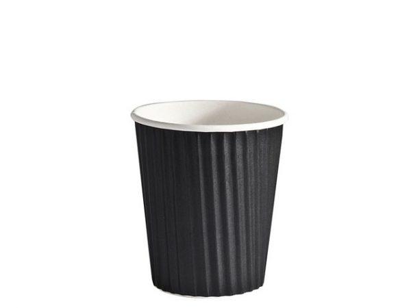 8 oz Plain Black Ripple Wrap Cup Detpak