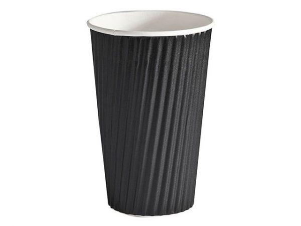 Plain black 16oz ripple cup