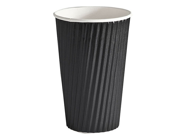 Plain black 16oz ripple cup
