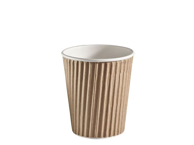 8 oz ripple wrap brown insulated paper cup