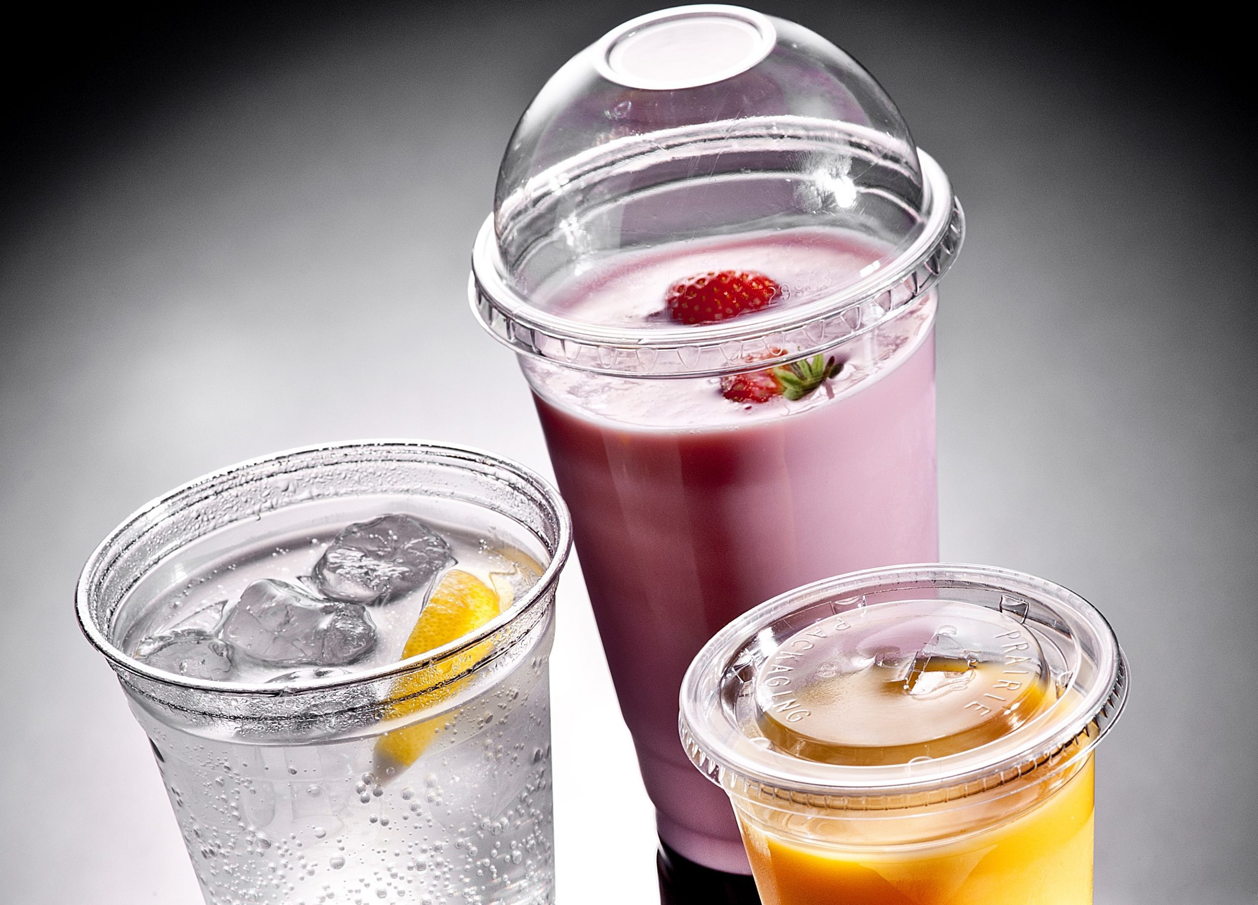 SolutionWare Clear Plastic Cold Drink Cups and Lids