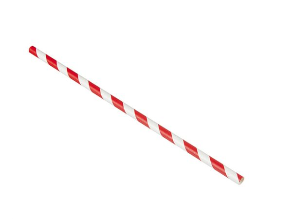 Red and white stripe paper straw PSST19764