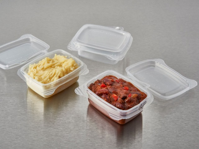 Rectangular pp plastic reusable food containers with hinged lid