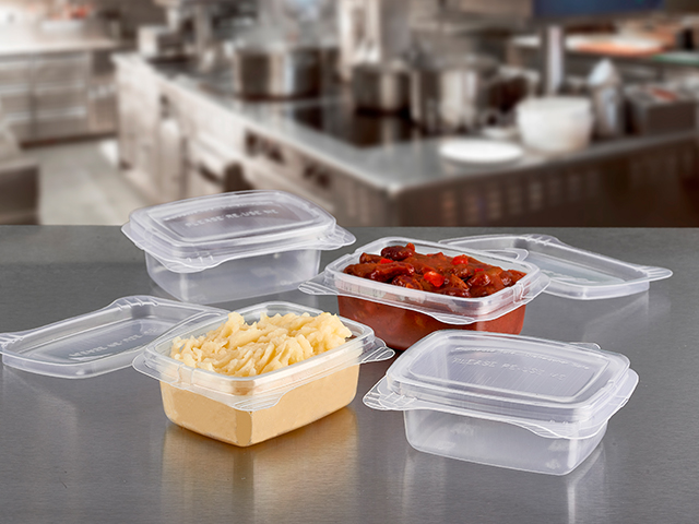 reusable microwavable containers for sauces and side dishes.